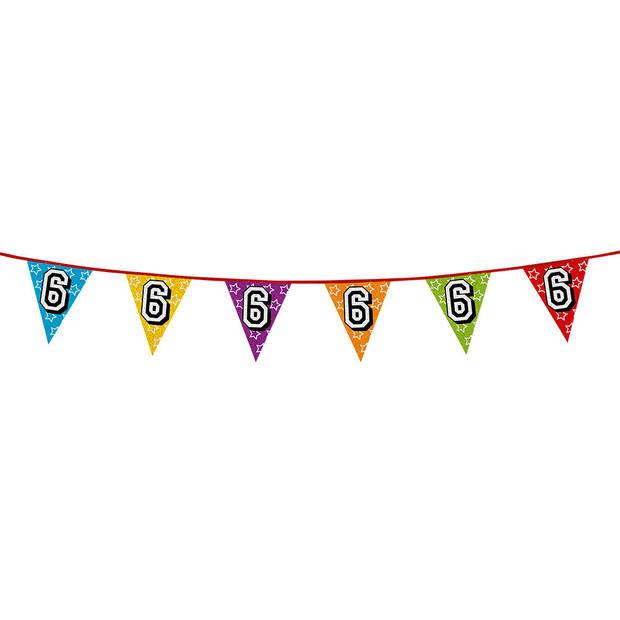 1x stuks vlaggenlijnen met glitters 6 jaar thema feestartikelen - Verjaardag versieringen - 8 meter - Plastic