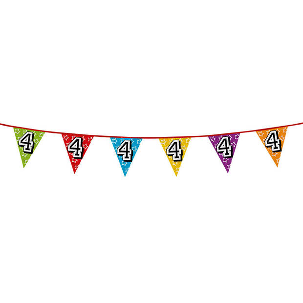1x stuks vlaggenlijnen met glitters 4 jaar thema feestartikelen - Verjaardag versieringen - 8 meter - Plastic