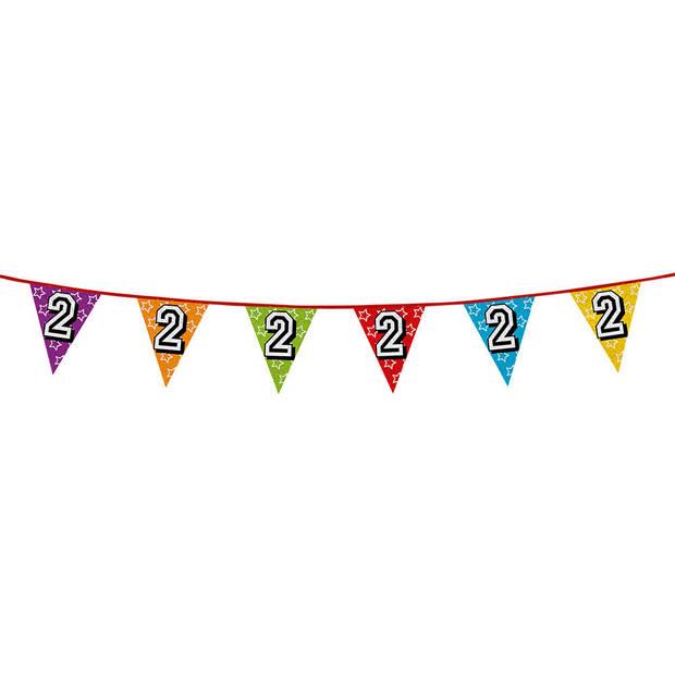 1x stuks vlaggenlijnen met glitters 2 jaar thema feestartikelen - Verjaardag versieringen - 8 meter - Plastic