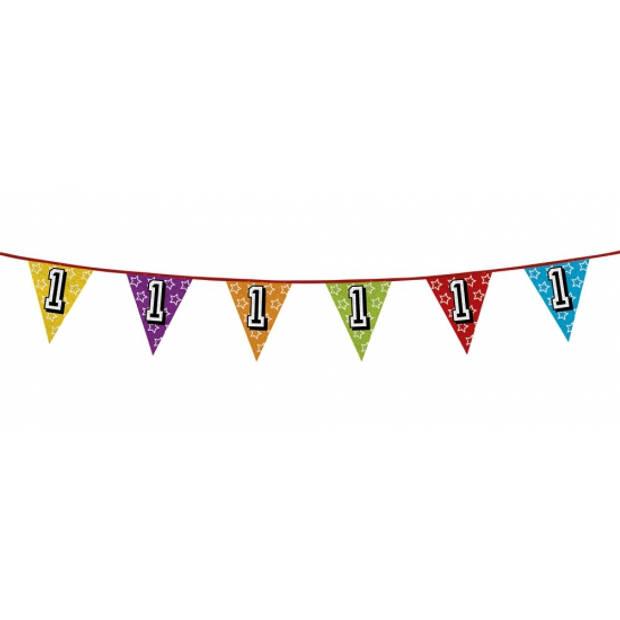 1x stuks vlaggenlijnen met glitters 1 jaar thema feestartikelen - Verjaardag versieringen - 8 meter - Plastic