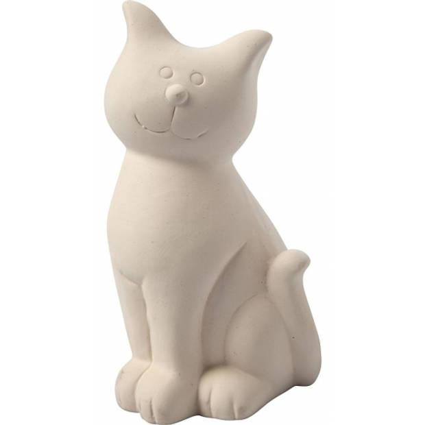 Spaarpot kat wit klei 14 cm om zelf te kleuren - kinderverjaardag katten thema