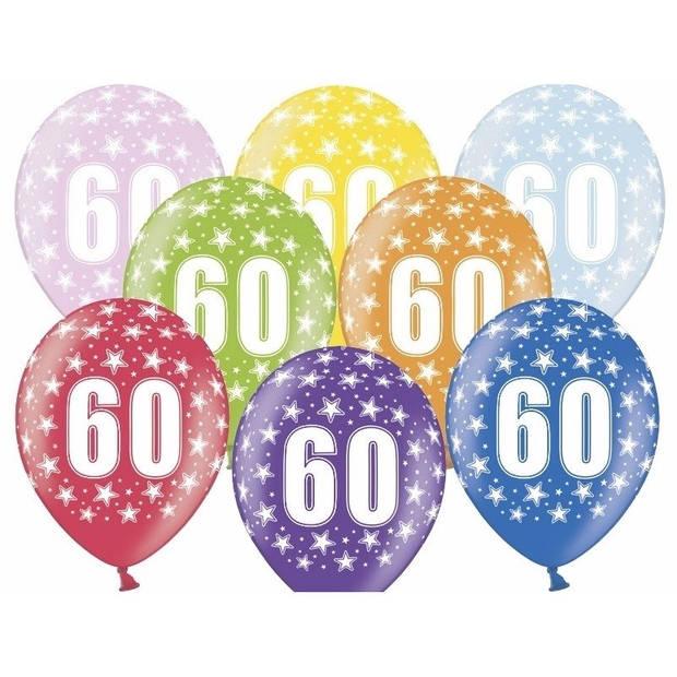 6x stuks Ballonnen 60 jaar thema met sterretjes - Verjaardag feestartikelen/versiering