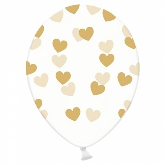 Transparante ballonnen met hartjes goud 6 stuks