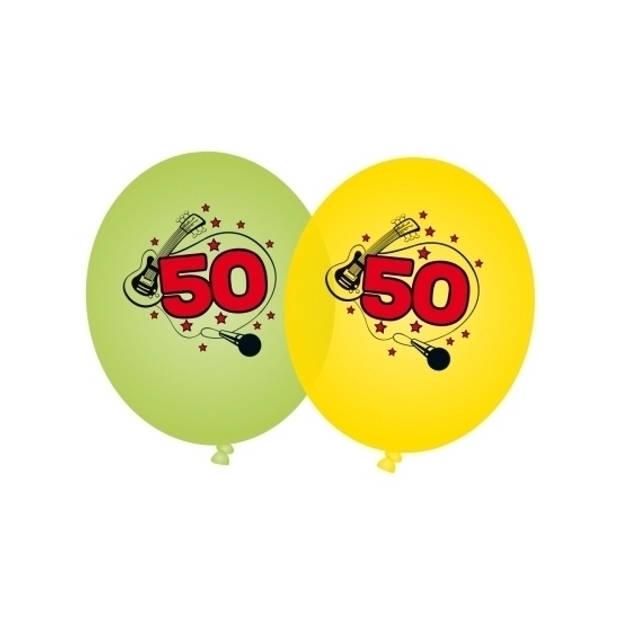 8x stuks Groene en gele ballonnen 50 jaar - Verjaardag leeftijdsversiering feestartikelen