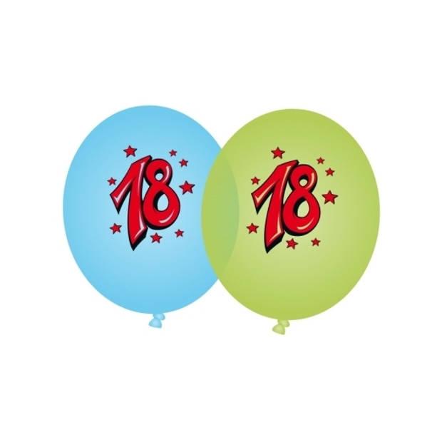 8x stuks Blauwe en groene leeftijd ballonnen 18 jaar - Verjaardag feestartikelen/versieringen