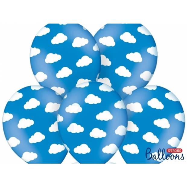 6x Blauwe ballonnen met wolkjes