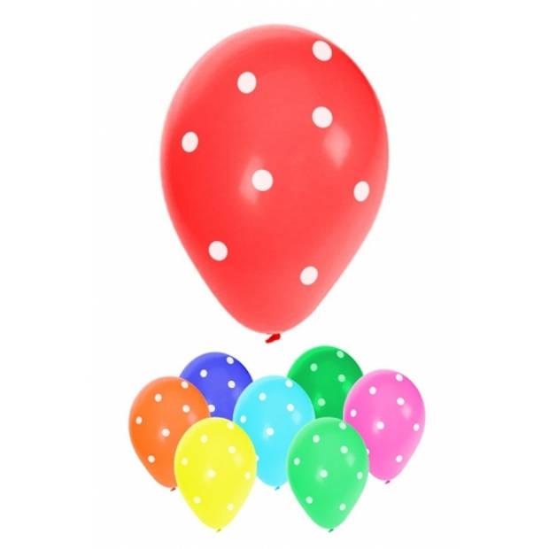 8x stuks gekleurde feest ballonnen met stippen 30 cm - Feestartikelen