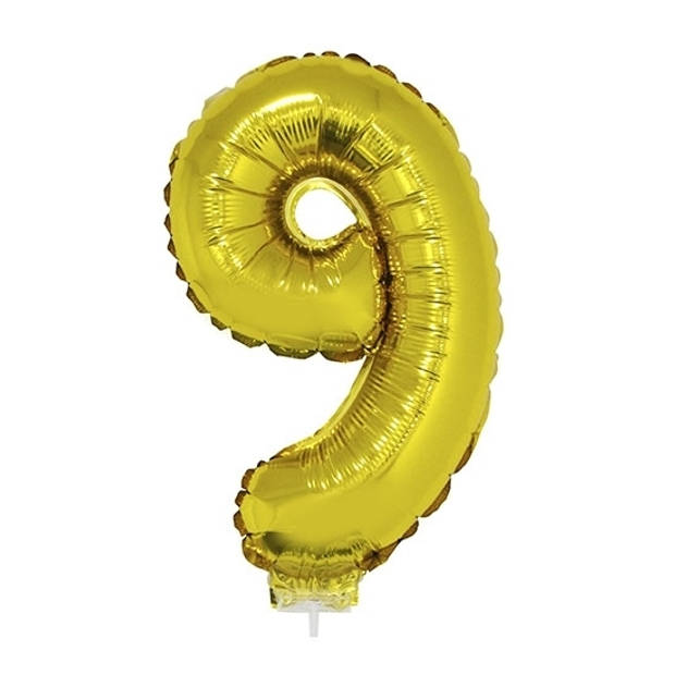 Gouden opblaas cijfer ballon 9 op stokje 41 cm