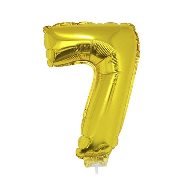 Gouden opblaas cijfer ballon 7 op stokje 41 cm