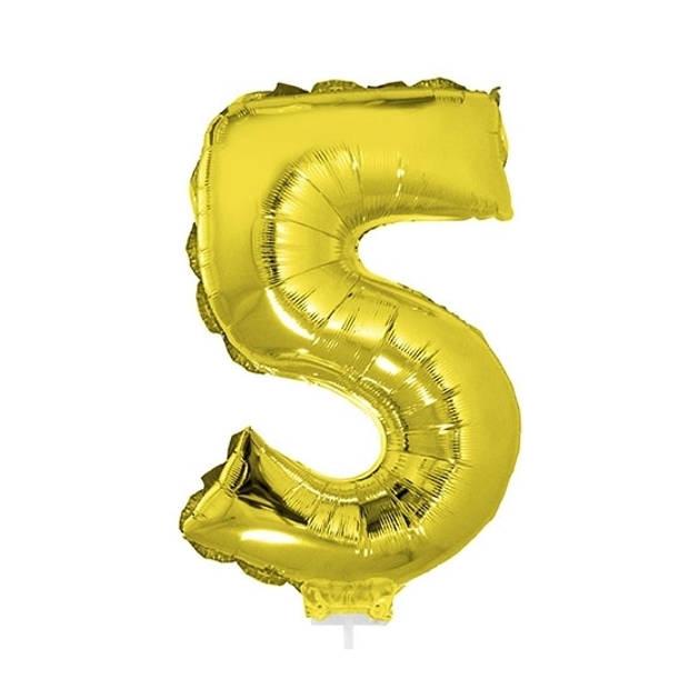 Gouden opblaas cijfer ballon 5 op stokje 41 cm