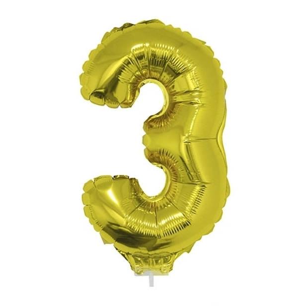 Gouden opblaas cijfer ballon 3 op stokje 41 cm
