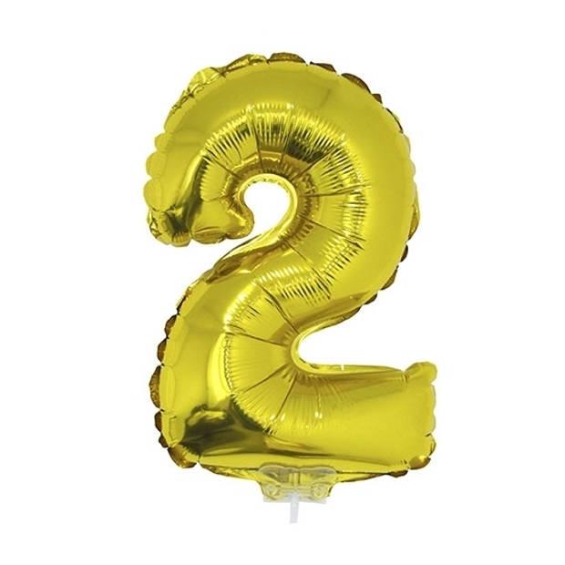 Gouden opblaas cijfer ballon 2 op stokje 41 cm