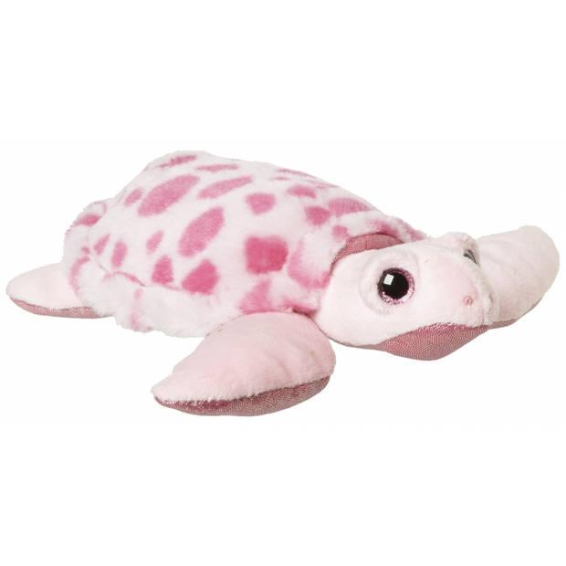 Pluche roze zeeschildpad knuffel 23 cm - Zeedieren knuffels voor kinderen - Meisjes cadeau