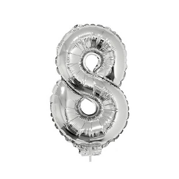 Zilveren opblaas cijfer ballon 8 op stokje 41 cm