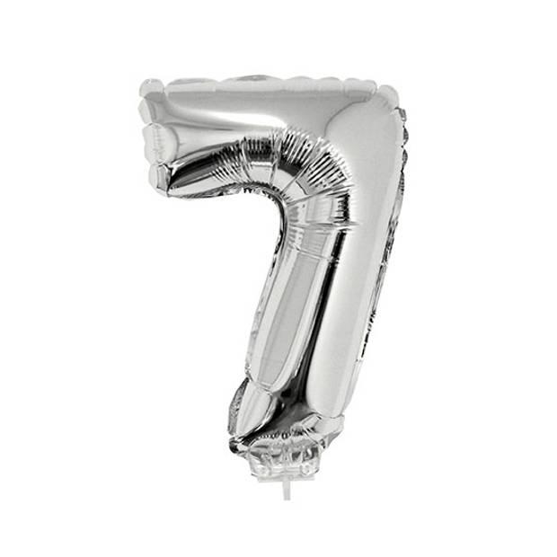 Zilveren opblaas cijfer ballon 7 op stokje 41 cm