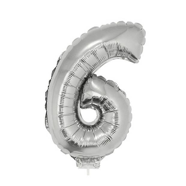 Zilveren opblaas cijfer ballon 6 op stokje 41 cm