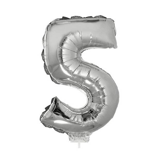Zilveren opblaas cijfer ballon 5 op stokje 41 cm