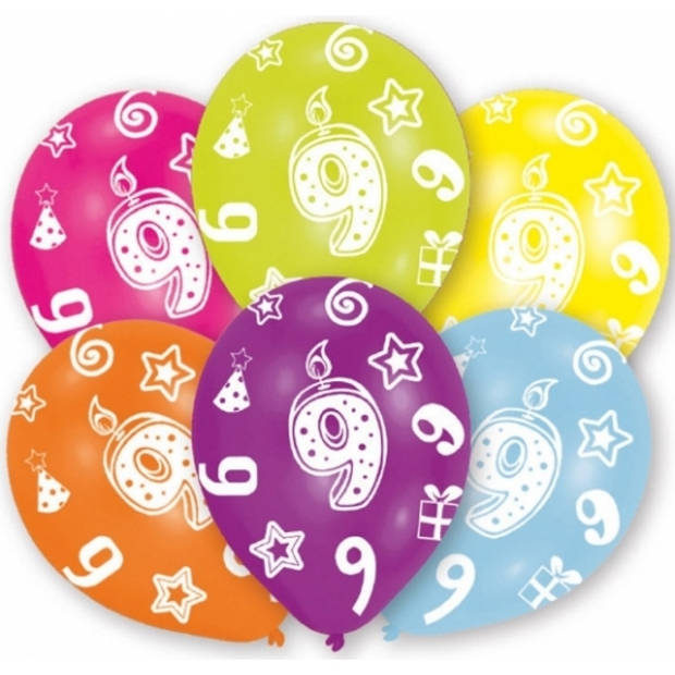 6x stuks 9 jaar thema verjaardag ballonnen van 27,5 cm - Leeftijd feestartikelen/versieringen