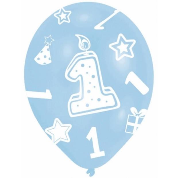 6x stuks blauwe ballonnen 1 jaar verjaardag feestartikelen - versiering jongens