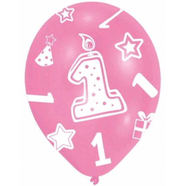 6x stuks roze ballonnen 1 jaar verjaardag feestartikelen versiering meisjes