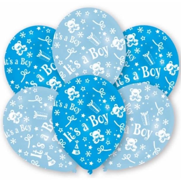6x stuks Blauwe geboorte ballonnen jongen 27.5 cm - Feestartikelen/versiering