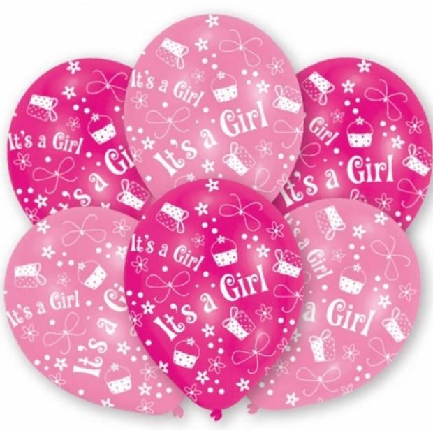 Roze geboorte ballonnen meisje 6x stuks - Feestartikelen en versiering babyshower en geboren thema