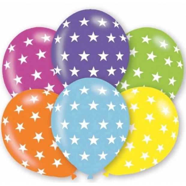 6x stuks verjaardag party ballonnen met sterren print - Feestartikelen en versieringen