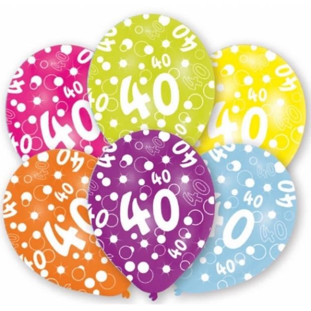 6x stuks 40 jaar verjaardag leeftijd ballonnen 27 cm - Feestartikelen/versieringen