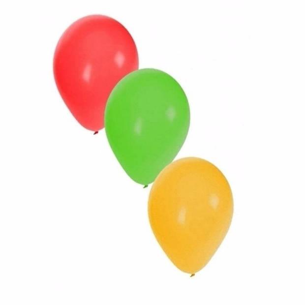 Ballonnen rood/geel/groen 15x stuks - Carnaval thema kleuren feestartikelen