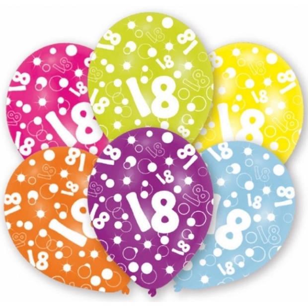 18 jaar thema leeftijd ballonnen 6x stuks - Leeftijd feestartikeln en versiering
