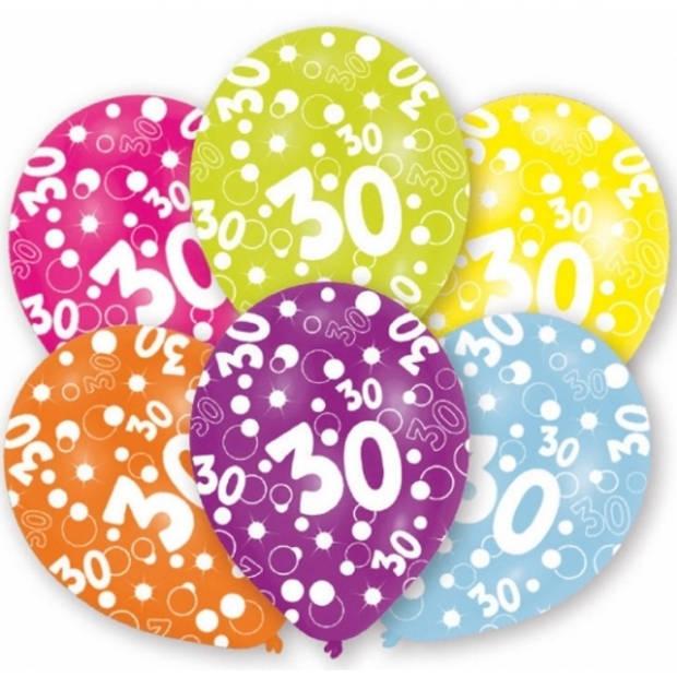 6x stuks 30 jaar verjaardag leeftijd ballonnen 27 cm - Feestartikelen/versieringen