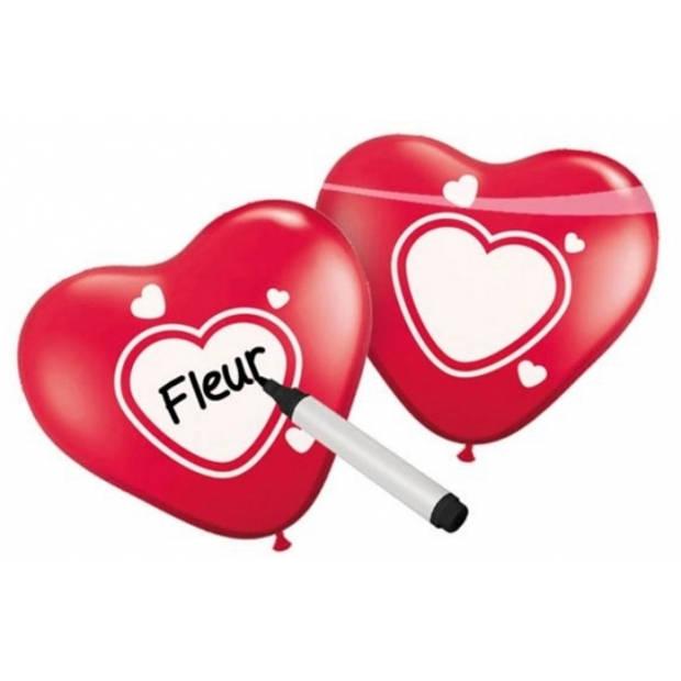 Beschrijfbare hartjes ballonnen 6x stuks - Lefde thema / Valentijn / Huwelijk