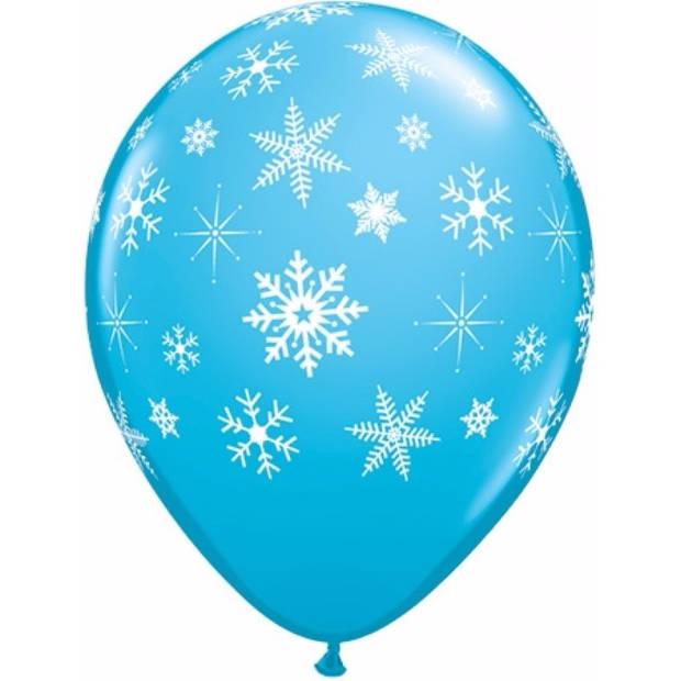 5x Blauwe sneeuwvlok ballonnen - ballonnen feest decoratie/versiering