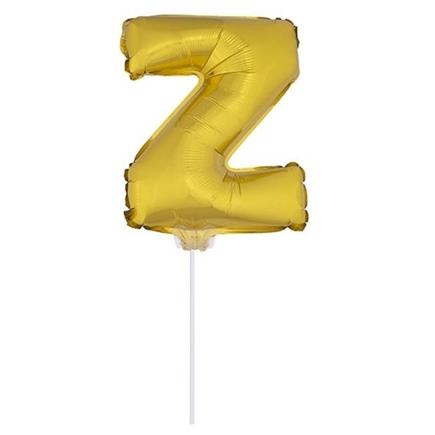 Gouden opblaas letter ballon Z op stokje 41 cm