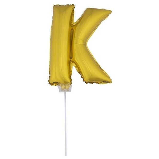 Gouden opblaas letter ballon K op stokje 41 cm