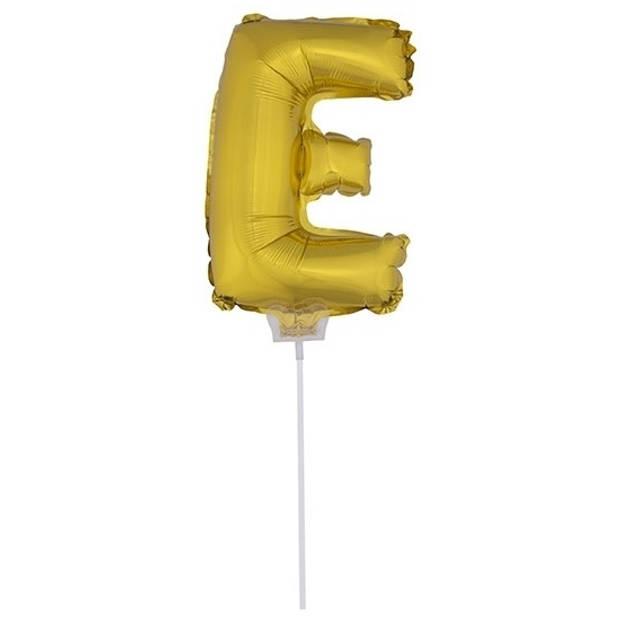 Gouden opblaas letter ballon E op stokje 41 cm