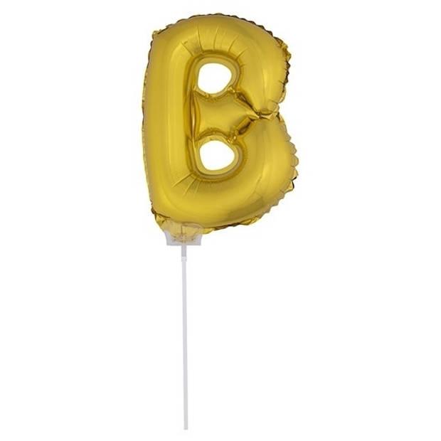 Gouden opblaas letter ballon B op stokje 41 cm