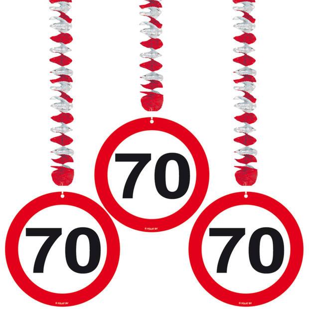 Verkeersbord 70 jaar feestartikelen pakket XL