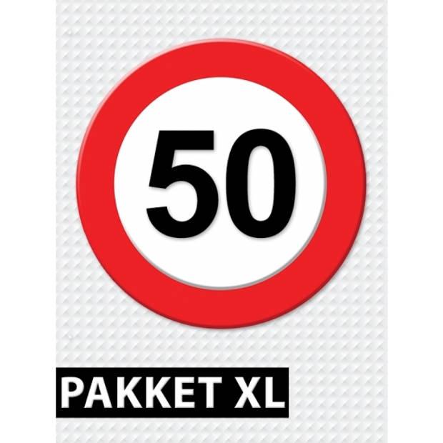 Verkeersbord 50 jaar feestartikelen pakket XL