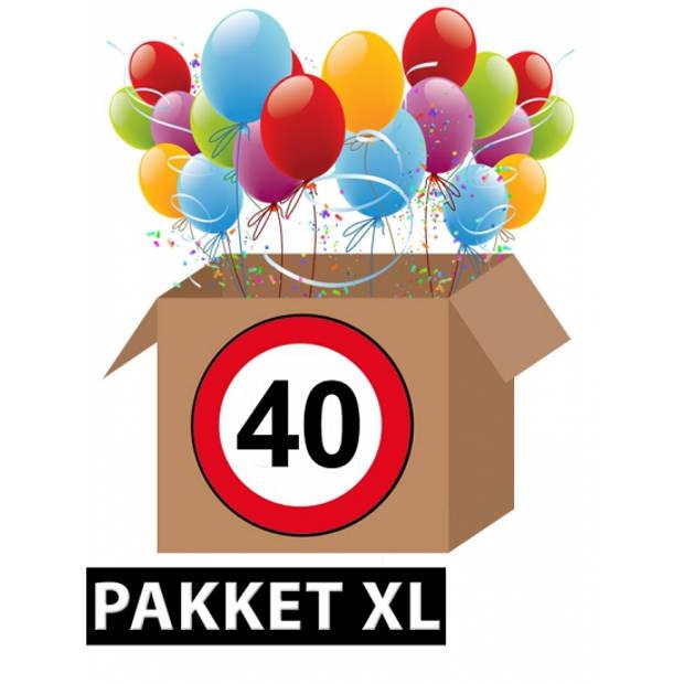 Verkeersbord 40 jaar feestartikelen pakket XL