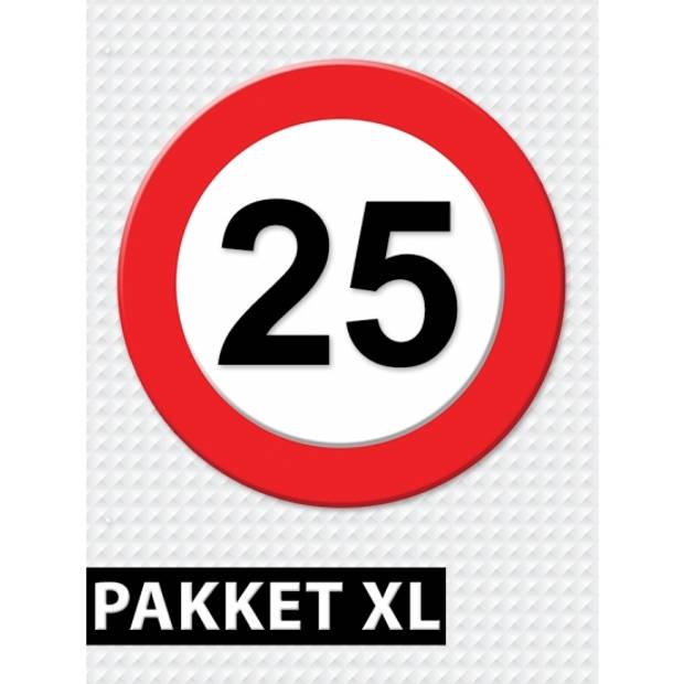 Verkeersbord 25 jaar feestartikelen pakket XL