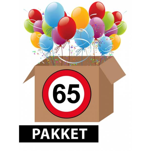 Verkeersbord 65 jaar feestartikelen pakket
