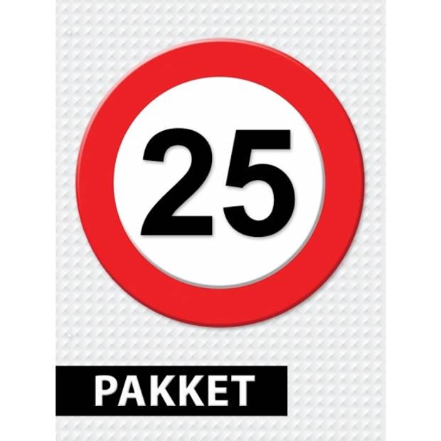 Verkeersbord 25 jaar feestartikelen pakket
