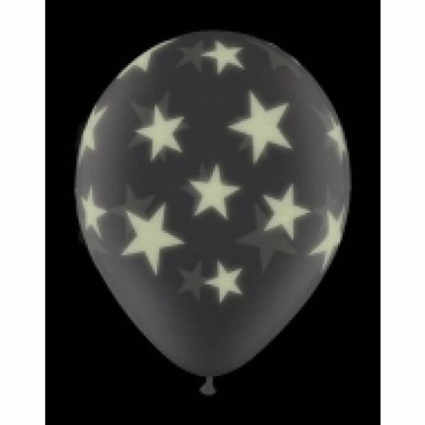 Glow in the dark ballonnen 6 st sterren 28 cm