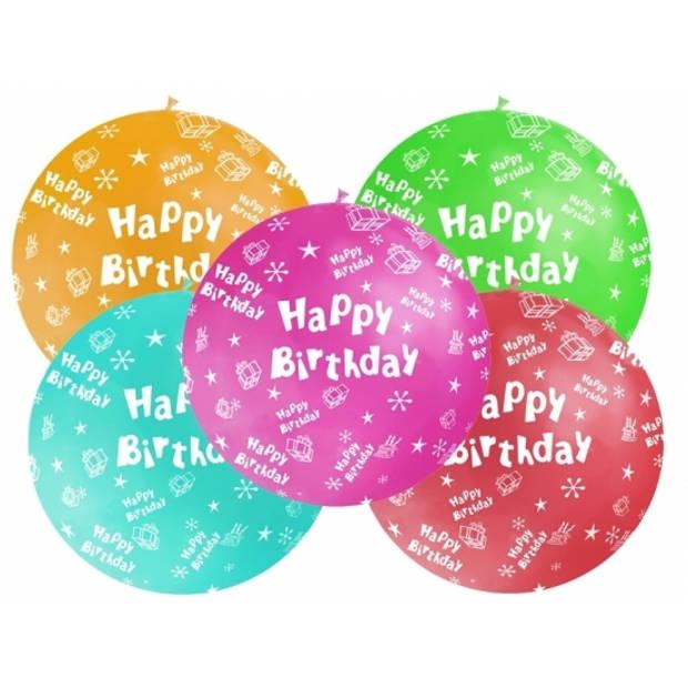 Mega ballon Happy Birthday bruin