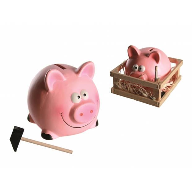 Spaarvarken met hamer in kistje - 14 x 12 cm - Keramiek - Spaarpot met hamertje