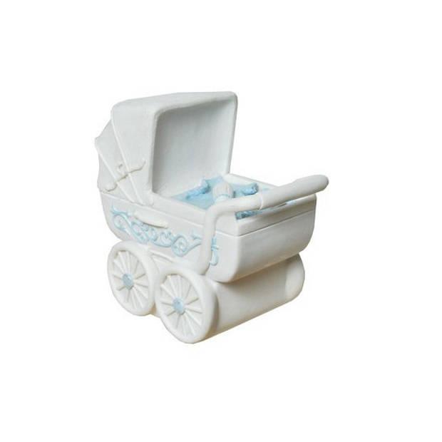 Spaarpot blauwe kinderwagen
