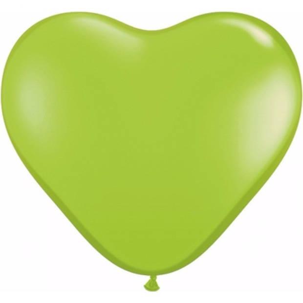 Hartjes ballonnen lime 25 stuks