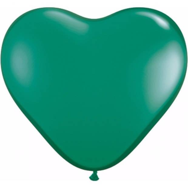 Hartjes ballonnen groen 10 stuks