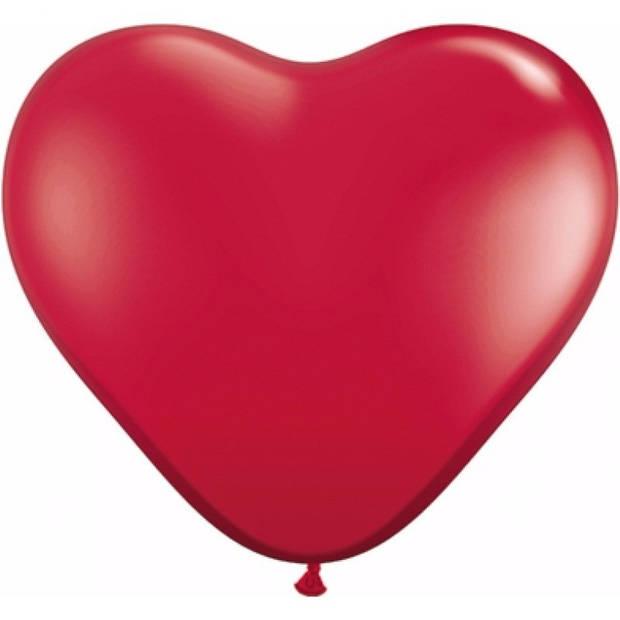 25x Hartjes ballonnen rood 25 cm - Valentijn/bruiloft versiering